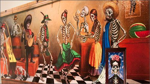 Dia De Los Muertos art at the Vargas Gallery.