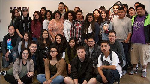Puente students at the Dia De Los Muertos Altar Demonstration.