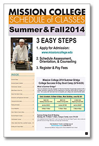 Summer-Fall 2014 class schedule cover
