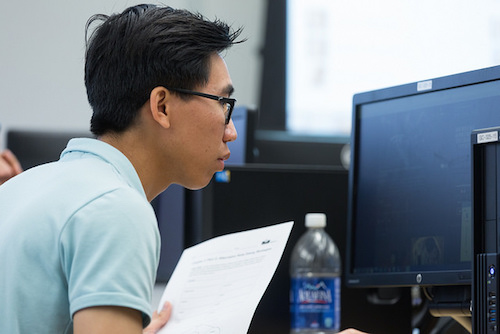 Student looking at computer