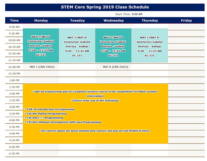 Spring 2019 STEM Core Schedule - PDF link below